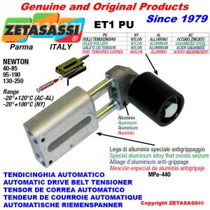 AUTOMATIC LINEAR BELT TENSIONER ET1 PU with belt roller Newton90:340-110:450-130:250-95:190-40:85