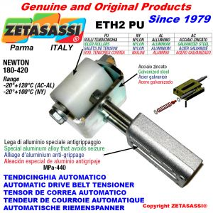 AUTOMATIC LINEAR BELT TENSIONER ETH2PU with fork and belt roller Newton180:420