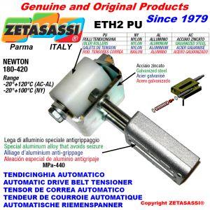 TENDEUR DE COURROIE AUTOMATIQUE LINÉAIRE ETH2PU avec fourche et galets de tension Newton180:420