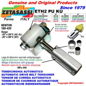 AUTOMATIC LINEAR BELT TENSIONER ETH2PUKU with fork and belt roller (PTFE bushes) Newton180:420
