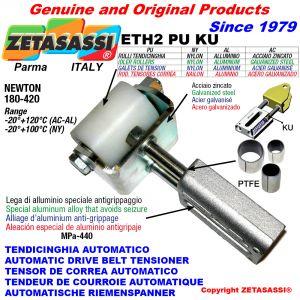 TENDEUR DE COURROIE AUTOMATIQUE LINÉAIRE ETH2PUKU avec fourche et galets de tension (bagues PTFE) Newton180:420
