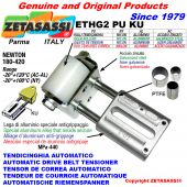 AUTOMATIC LINEAR BELT TENSIONER ETHG2PUKU with fork and belt roller (PTFE bushes) Newton180:420