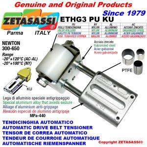 AUTOMATIC LINEAR BELT TENSIONER ETHG3PUKU with fork and belt roller (PTFE bushes) Newton300:650