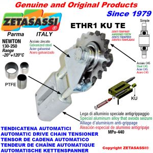 AUTOMATIC LINEAR CHAIN TENSIONER ETHR1KUTE with fork and hardened teeth idler sprocket ACTE (PTFE bushes) Newton130:250
