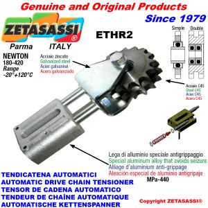 AUTOMATIC LINEAR CHAIN TENSIONER ETHR2 with fork and idler sprocket with bearings model AC Newton180:420