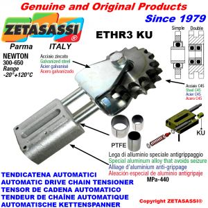 AUTOMATIC LINEAR CHAIN TENSIONER ETHR3KU with fork and idler sprocket with bearings model AC (PTFE bushes) Newton300:650