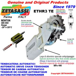 AUTOMATIC LINEAR CHAIN TENSIONER ETHR3TE with fork and hardened teeth idler sprocket model ACTE Newton300:650