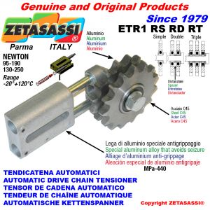 AUTOMATIC LINEAR CHAIN TENSIONER ETR1 with idler sprocket model RS-RD-RT Newton130:250-95:190