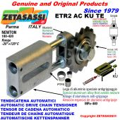 AUTOMATIC LINEAR CHAIN TENSIONER ETR2ACKUTE with hardened idler sprocket model ACTE (PTFE bushes) Newton180:420