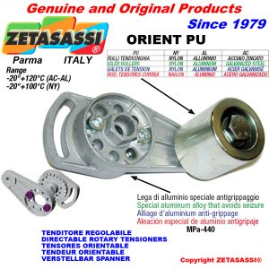 DIRECTABLE ROTARY BELT TENSIONER ORIENTPU with idler roller