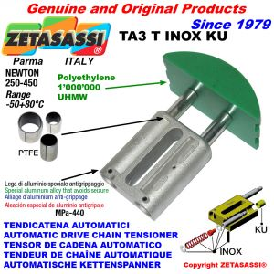 TENSOR DE CADENA AUTOMATICO LINEAL TA3 INOX KU cabeza a arco redondo (casquillos PTFE) Newton250:450