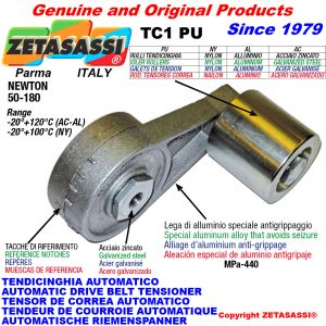 AUTOMATIC ARM BELT TENSIONER TC1PU with idler roller Newton50:180