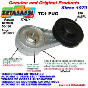 AUTOMATIC ARM BELT TENSIONER TC1PUG with rim pulley Newton50:180
