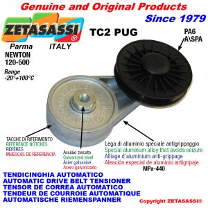 AUTOMATIC ARM BELT TENSIONER TC2PUG with rim pulley Newton120:500
