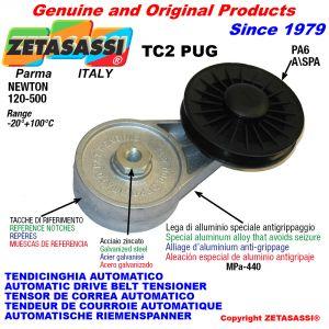 TENSOR DE CORREA AUTOMÁTICO ROTATIVO TC2PUG con polea a garganta Newton120:500