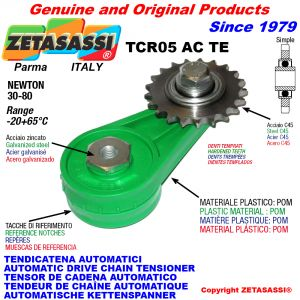 AUTOMATIC ARM CHAIN TENSIONER TCR05ACTE with hardened idler sprocket ACTE Newton30:80