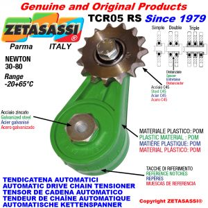 AUTOMATIC ARM CHAIN TENSIONER TCR05 with idler sprocket RS RD RT Newton30:80