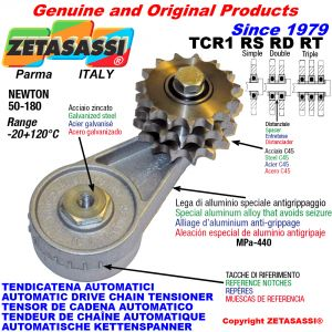 AUTOMATIC ARM CHAIN TENSIONER TCR1 with idler sprocket RS RD RT Newton50:180