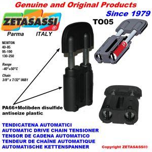 """TENSOR DE CADENA TO05 3/8""""x7/32"""" simple (Cuerpo y Cabeza en PA66+d.m.) Newton40:85-95:190-130:250"""