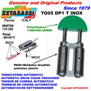 INOX CHAIN TENSIONER TO05DP1 round head (Body in PA66+m.b. Head in Polyethylene) Newton110:240