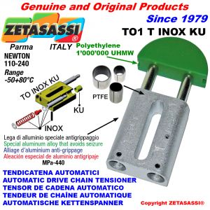 AUTOMATISCHE LINEAR INOX KETTENSPANNER TO1 INOX KU Rundkopf  (PTFE Buchsen)  Newton110:240