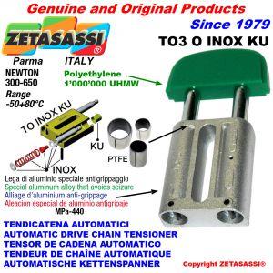 TENSOR DE CADENA AUTOMATICO LINEAL TO3INOXKU cabeza oval (casquillos PTFE) Newton250:450