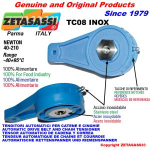 TENSIONER TC08 INOX ALIMENTARY with hole or threaded bore Newton 40:210